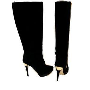 Michael Kors York Black Suede Heeled Knee Boots